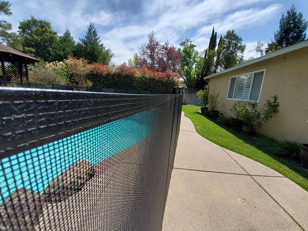 black mesh pool fence installed in San Ramon, California