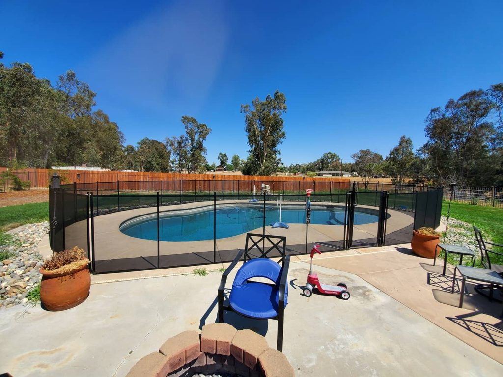black mesh pool fence installed in Herald, CA