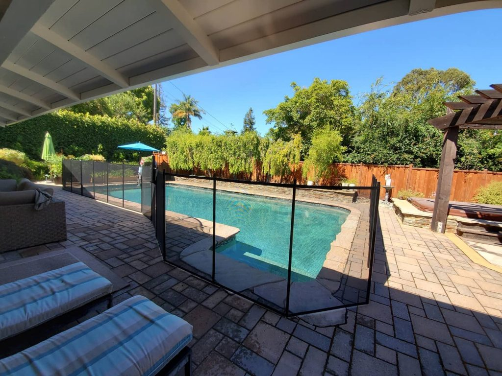 black mesh pool safety fence installed in Sacramento, CA