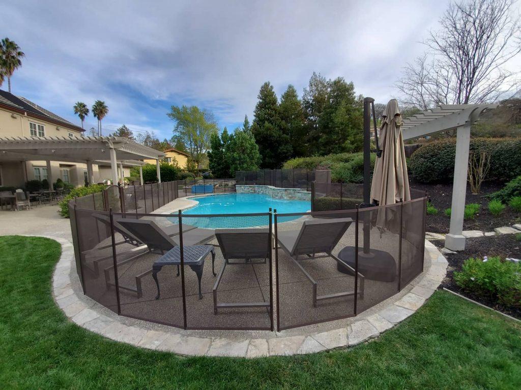 brown Life Saver mesh pool fence installed in Walnut Creek, CA