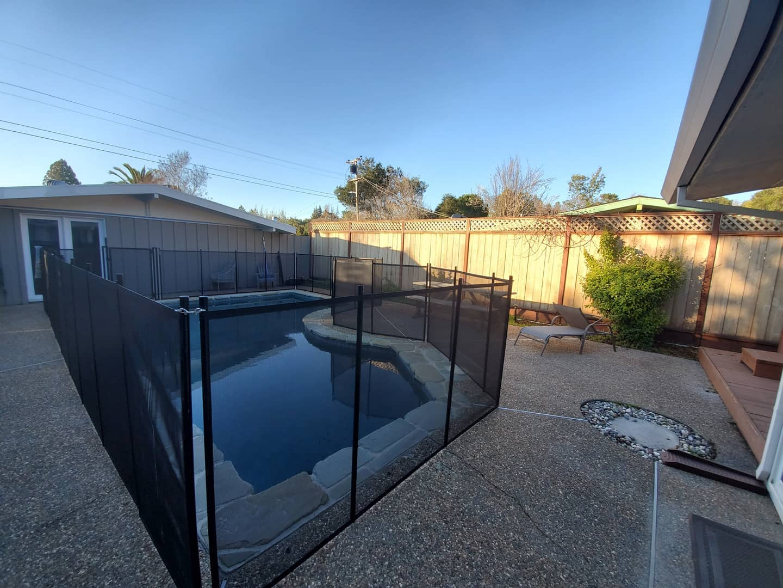 black mesh pool fence installed in Novato, CA